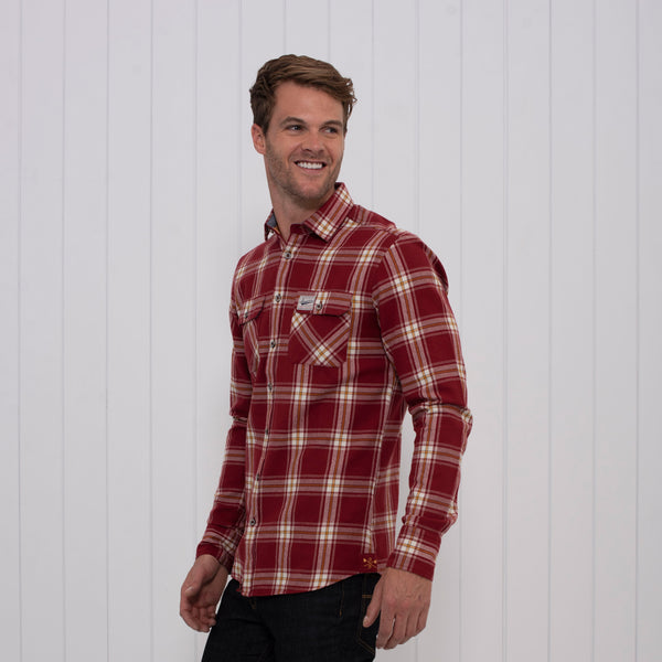 Brushed Flannel Check Shirt Red