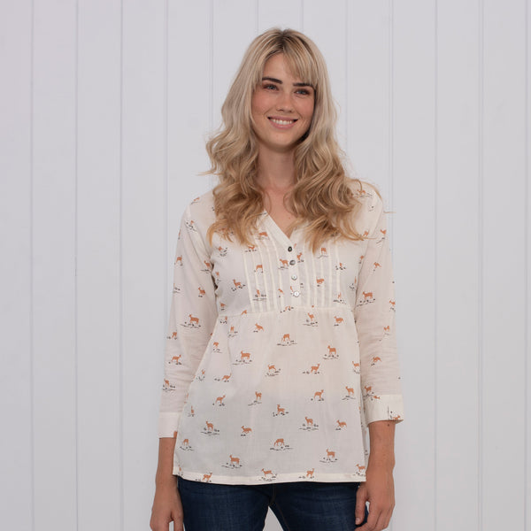 Deer Pleated Blouse