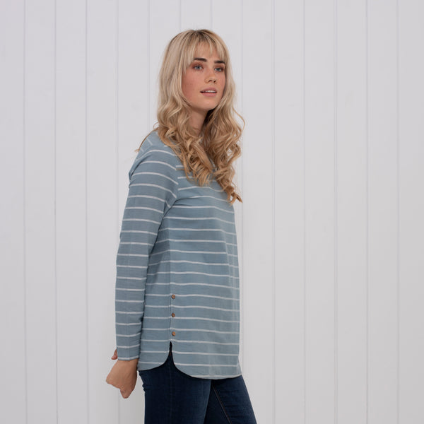 Stripe Woven Long Sleeve Tee