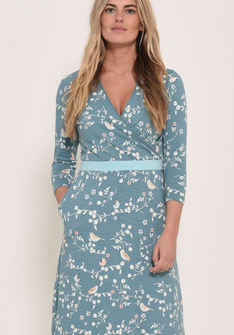 Bird Blossom Wrap Dress