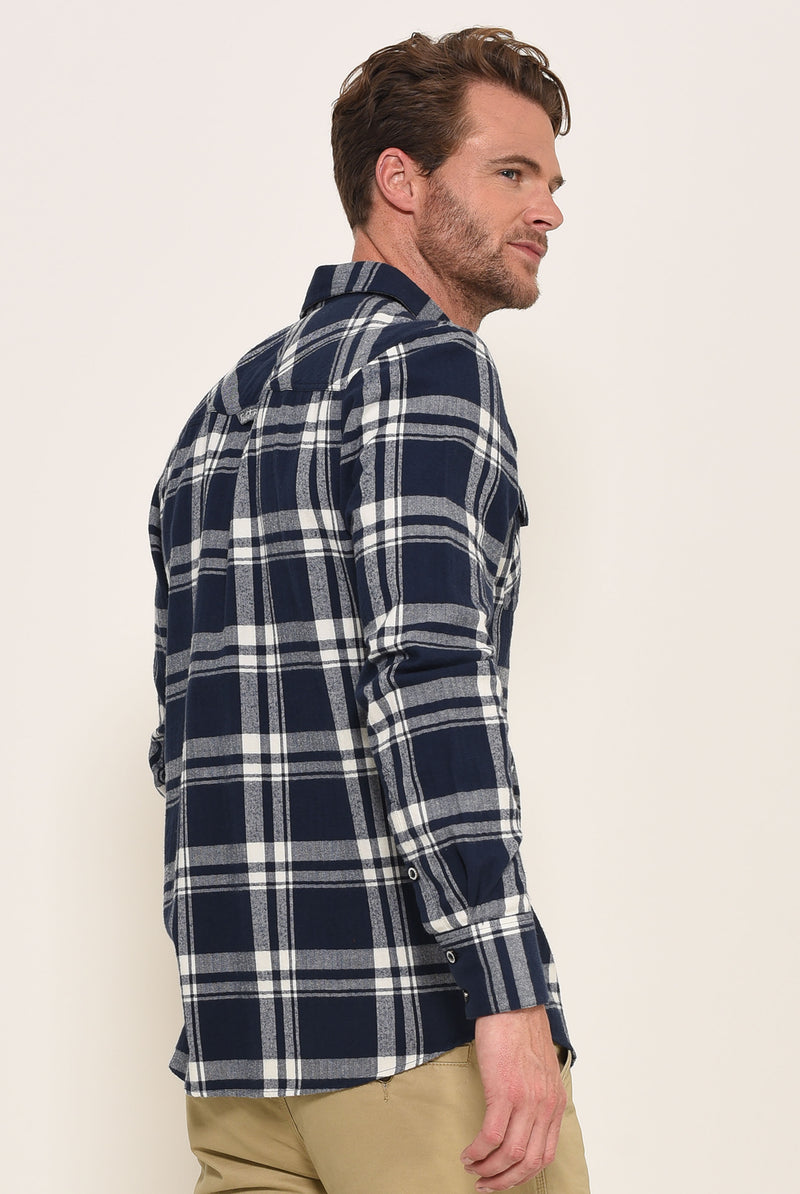 Flannel Check Shirt Navy