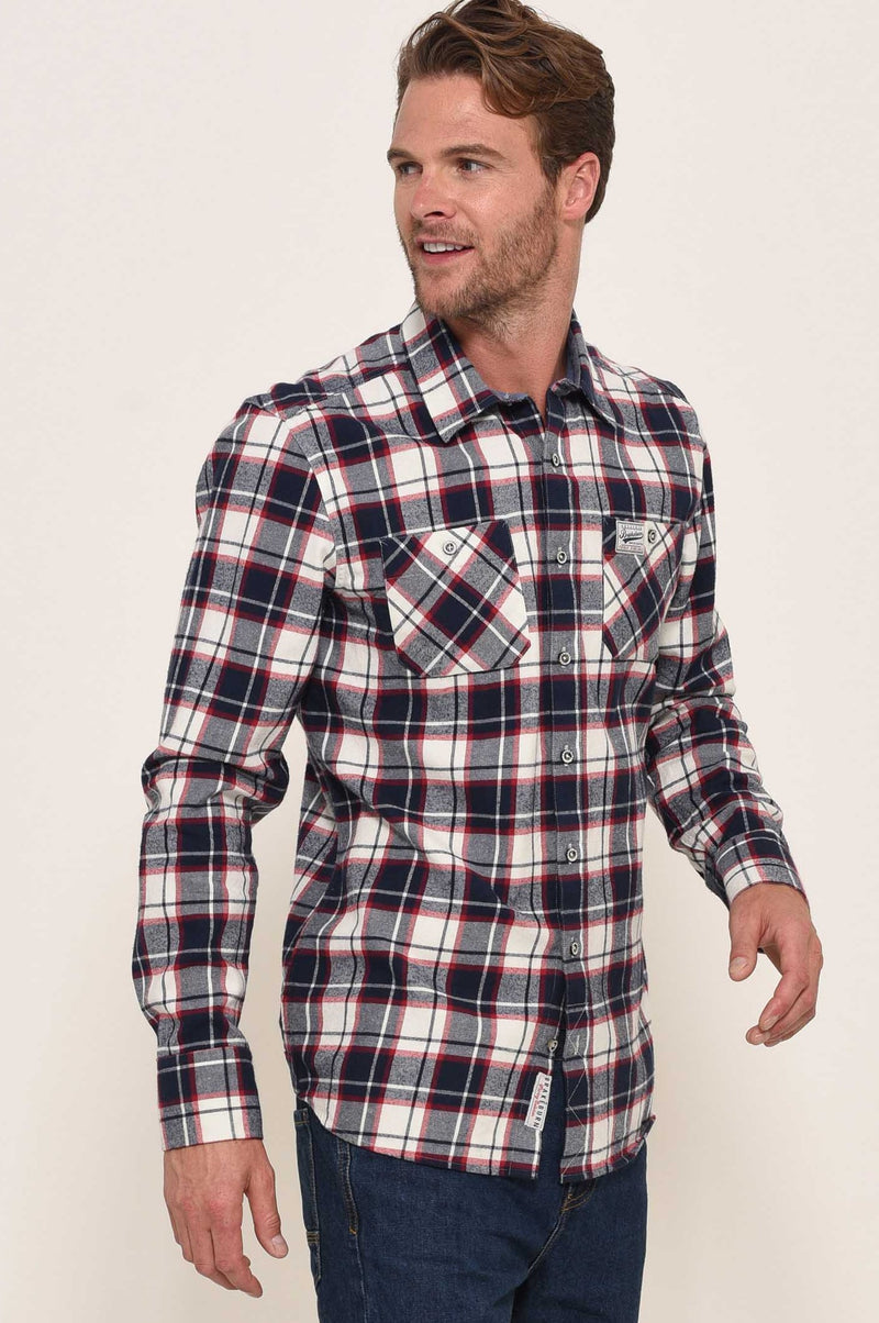 Flannel Check Shirt Ecru