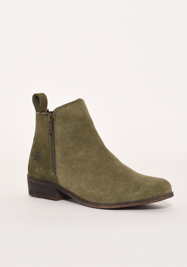 Heeled Suede Zip Boot
