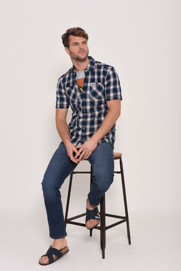Short Sleeve Blue Check Shirt