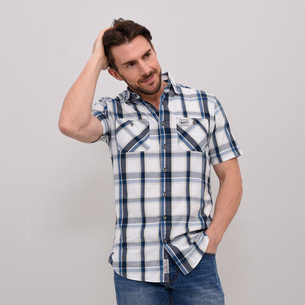 Short Sleeve Check Shirt Navy & Stone