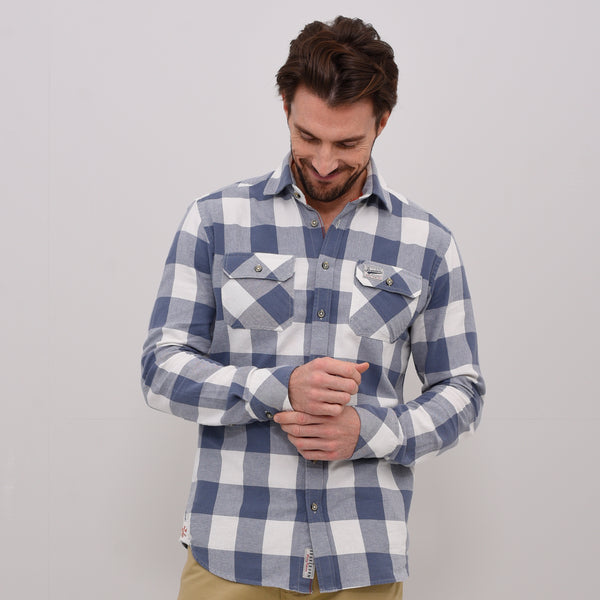 Long Sleeve Twill Block Check Shirt