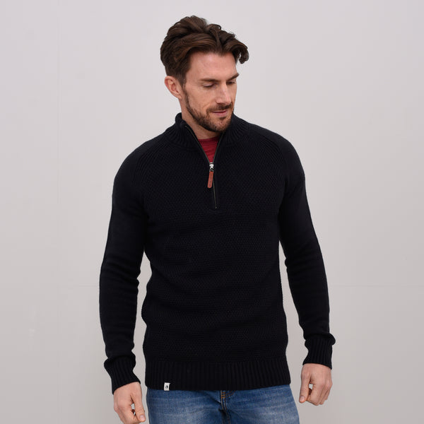 Basket Weave Zip Neck Jumper