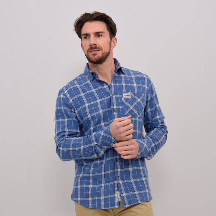 Long Sleeve Twill Check Shirt Blue