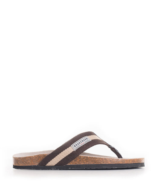 Stripe Canvas Flip Flop Brown & Sand