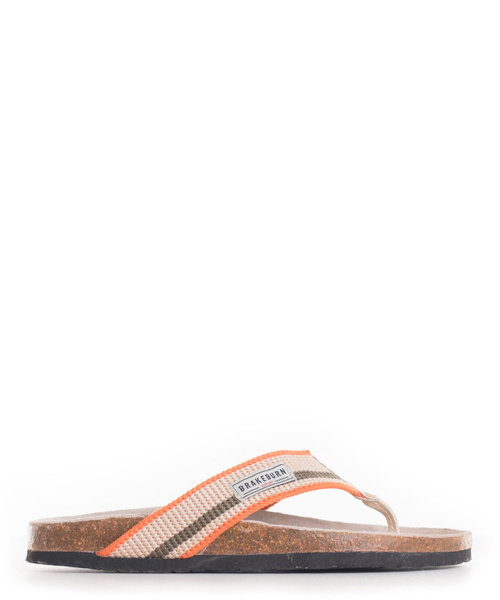 Stripe Canvas Flip Flop Stone & Orange