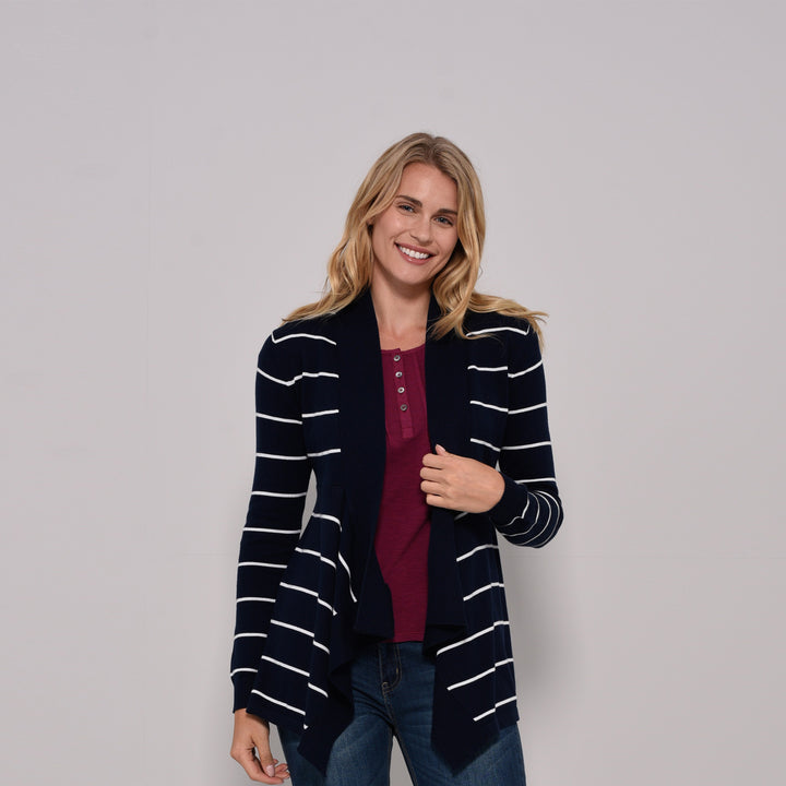 Stripe Waterfall Cardigan