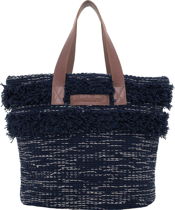 Boho Beach Bag Navy