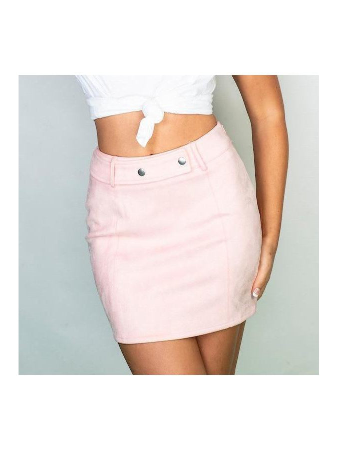LOLA blue suede skirt