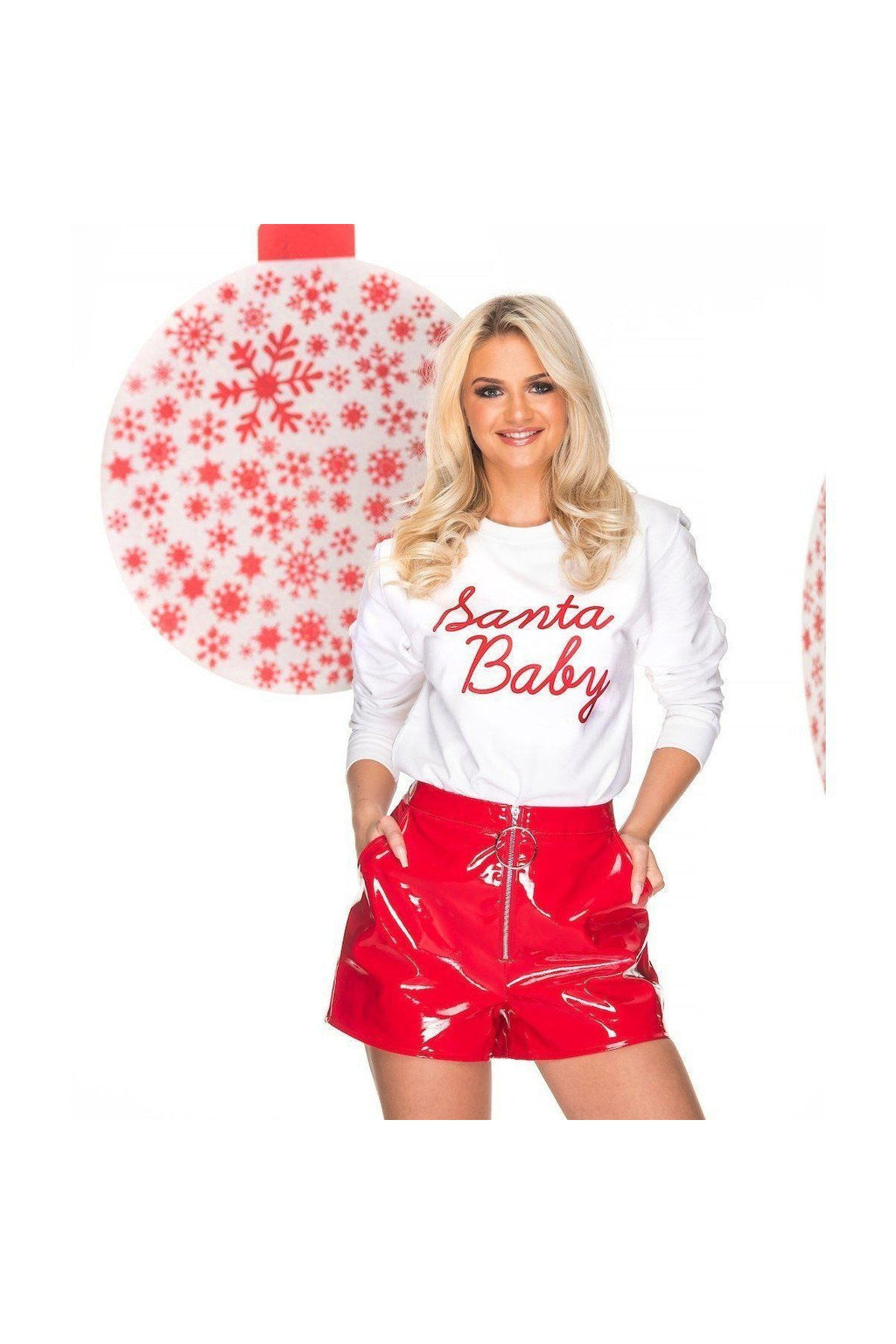 Santa Baby Christmas Jumper in white