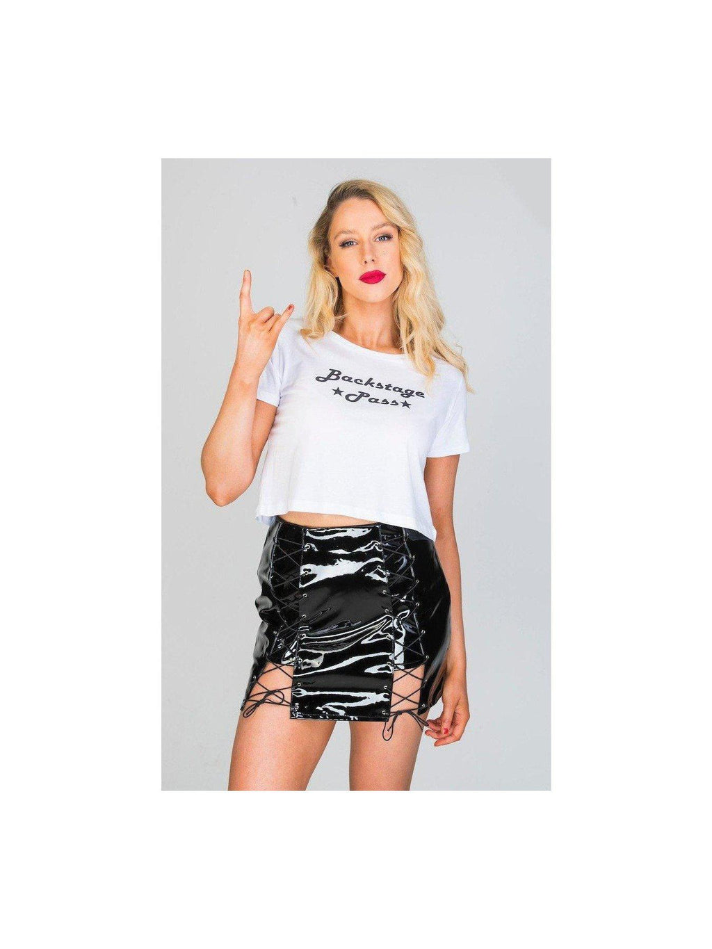 The 'Rita' black vinyl skirt