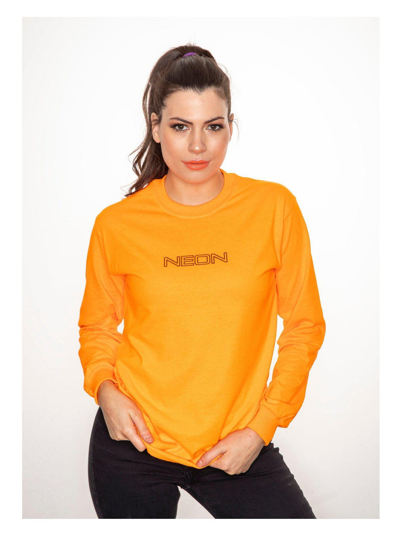 NEON long sleeve top in orange with black print