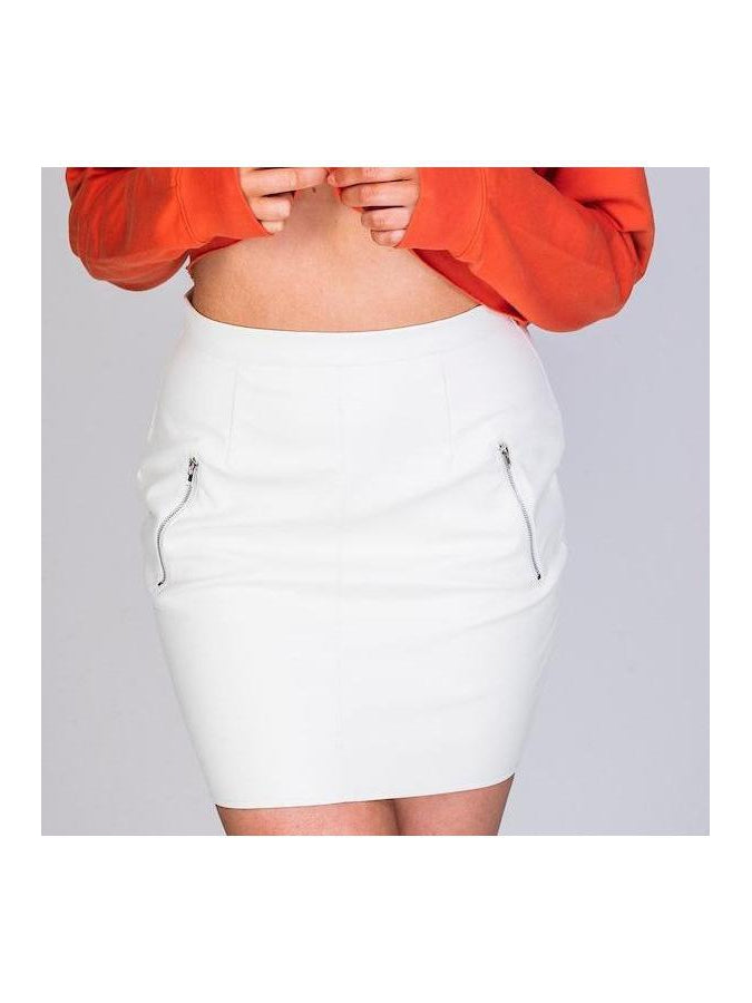 ZARA leatherette skirt in vanilla