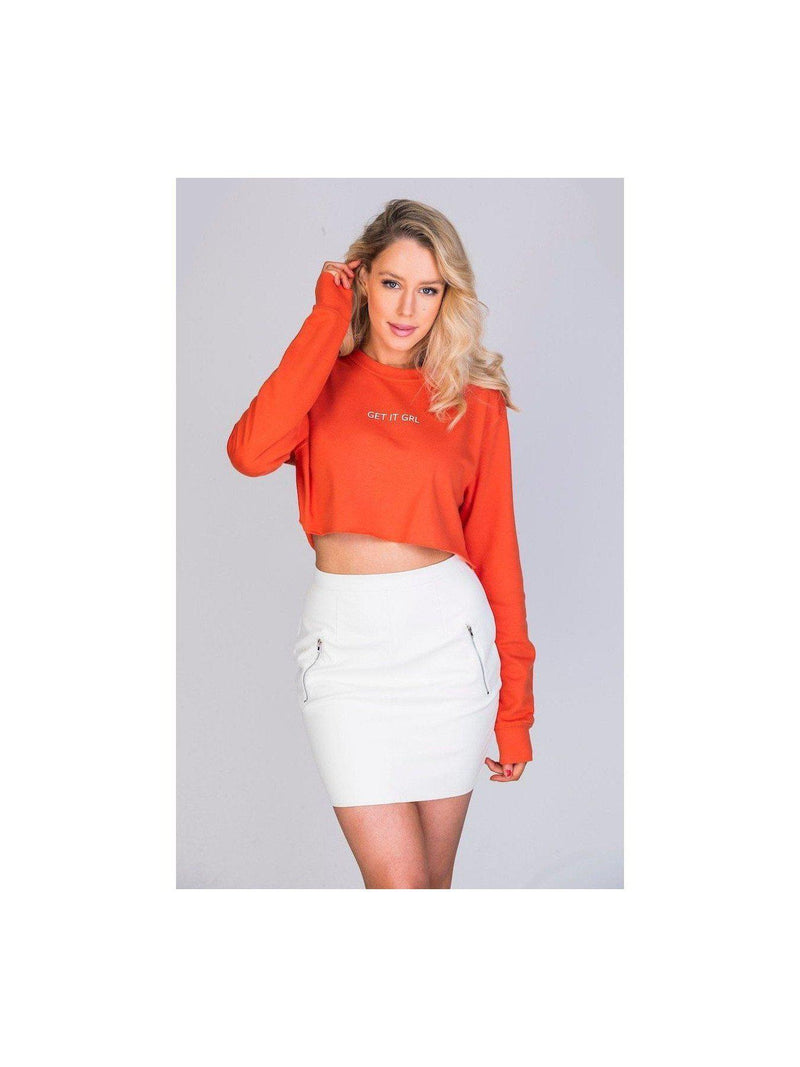 GET IT GRL cropped sweatshirt in orange