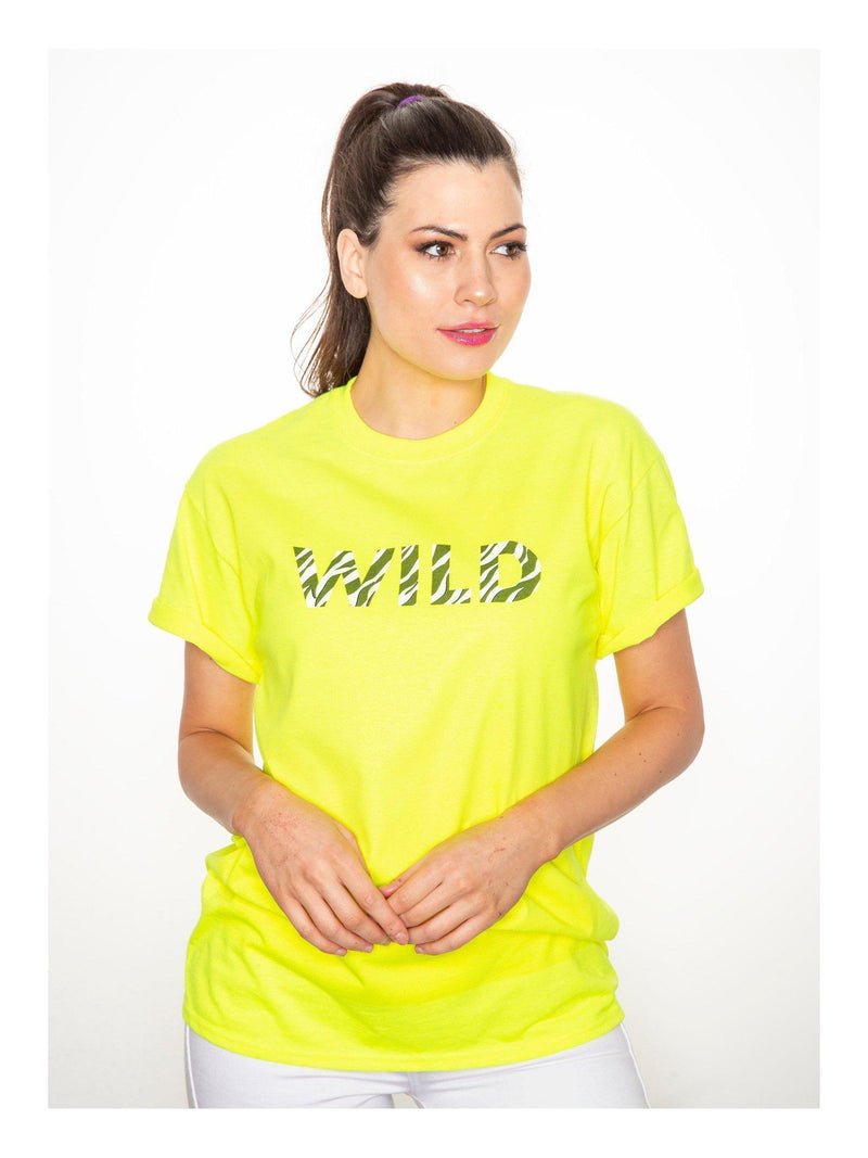 WILD neon t shirt in yellow with black and white zebra print