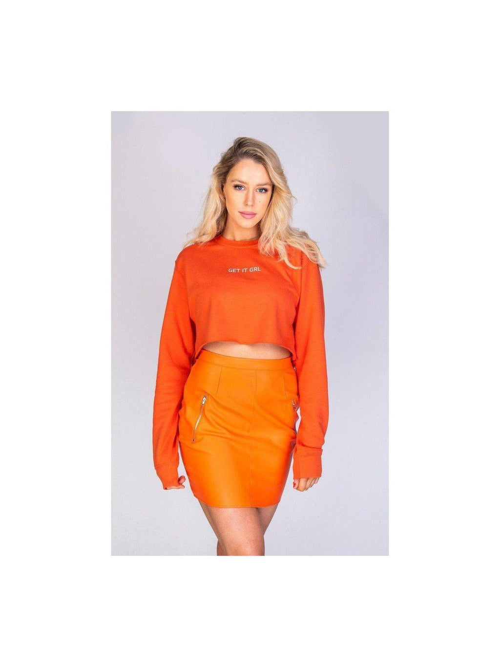 ZARA leatherette skirt in orange