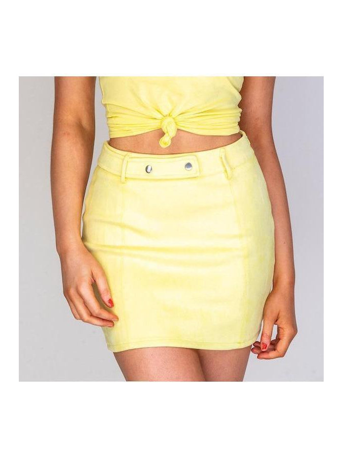 LEMONADE Co Ord | yellow suedette mini skirt and slogan tshirt
