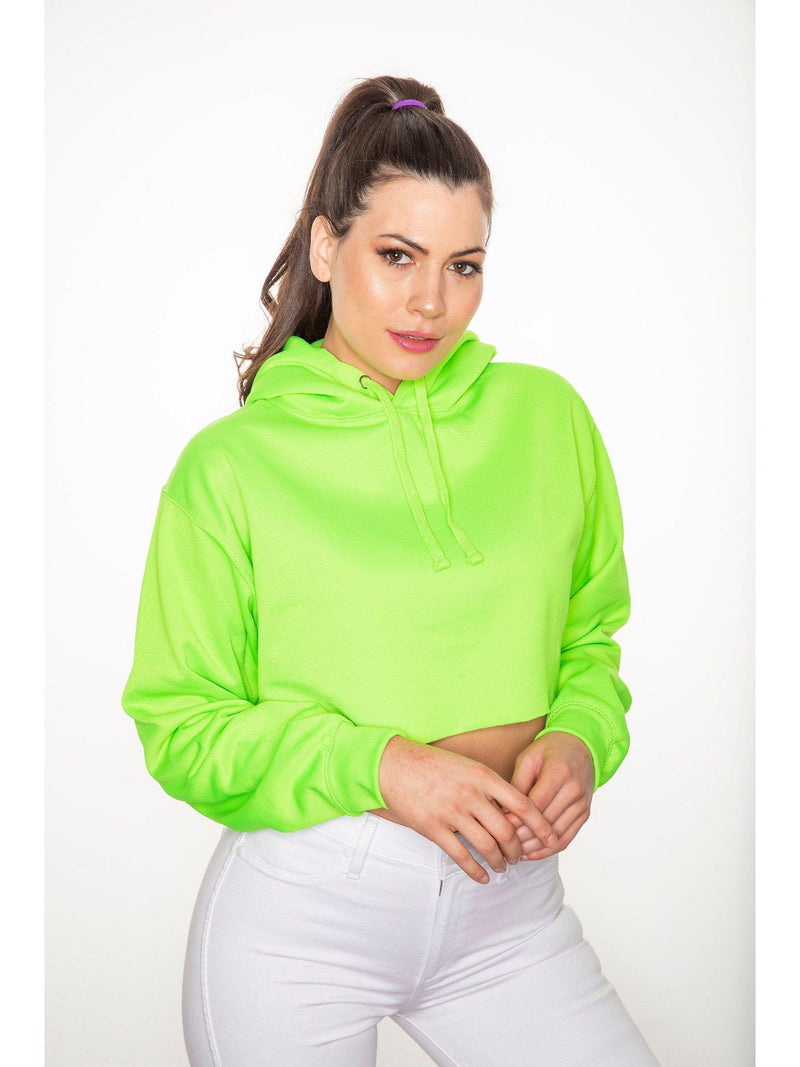 NEON green cropped hoodie