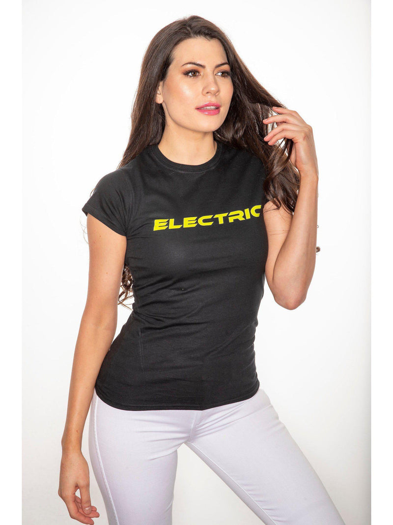ELECTRIC t shirt in black with neon green print