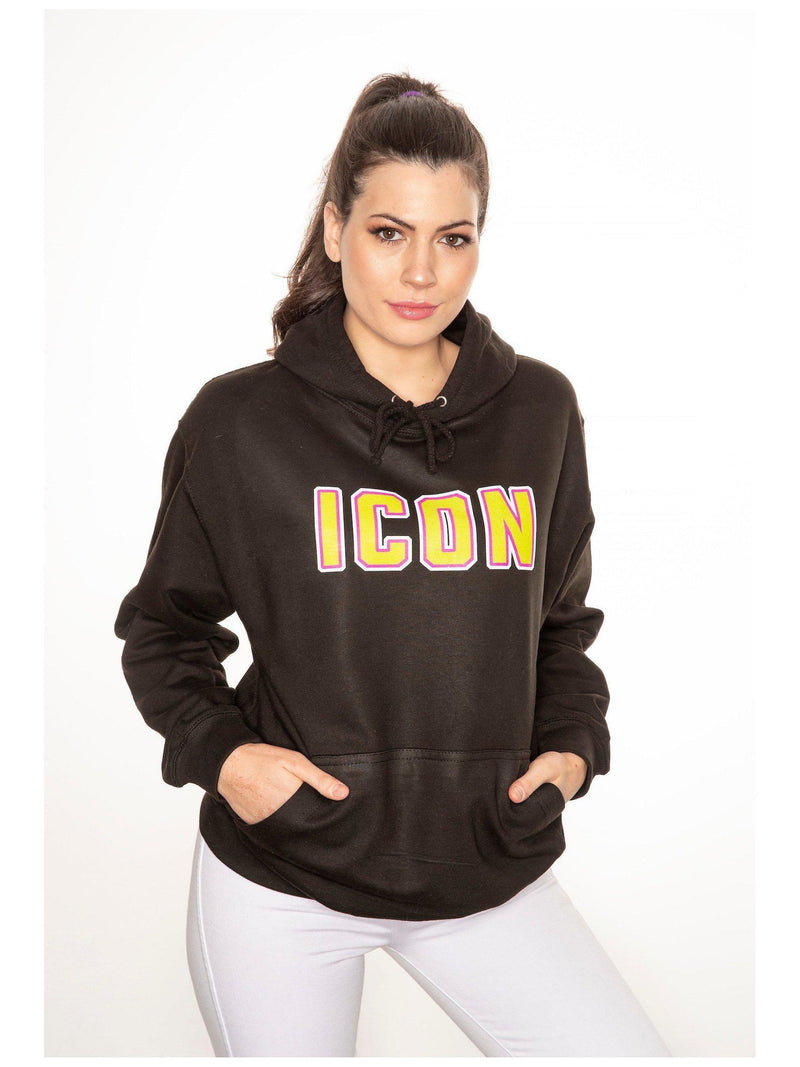 ICON hoodie in black with neon print