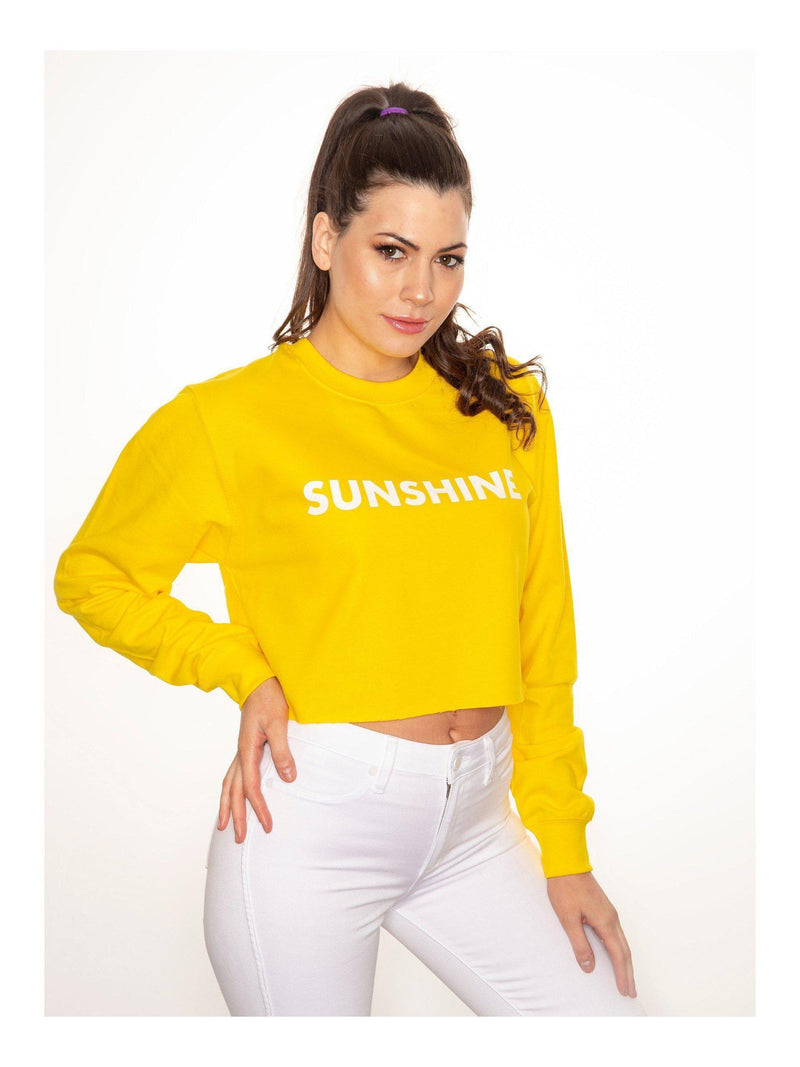SUNSHINE cropped sweatshirt in yellow
