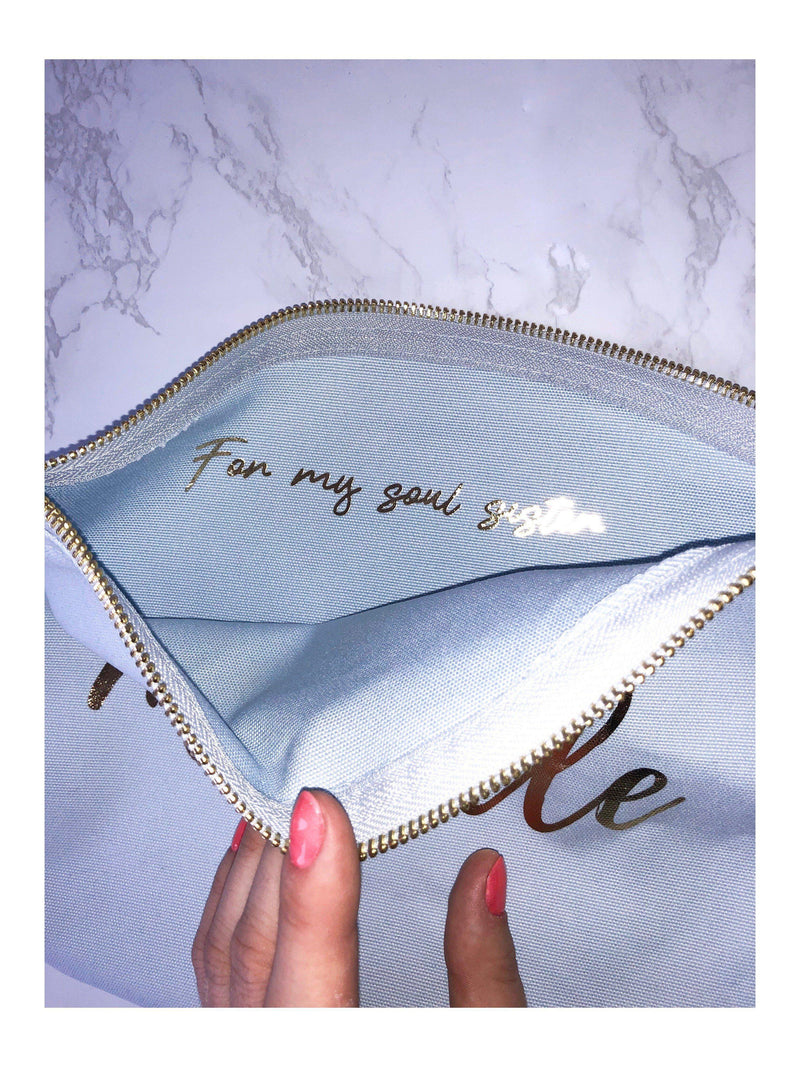 Personalised Make-up Bag with gold foil