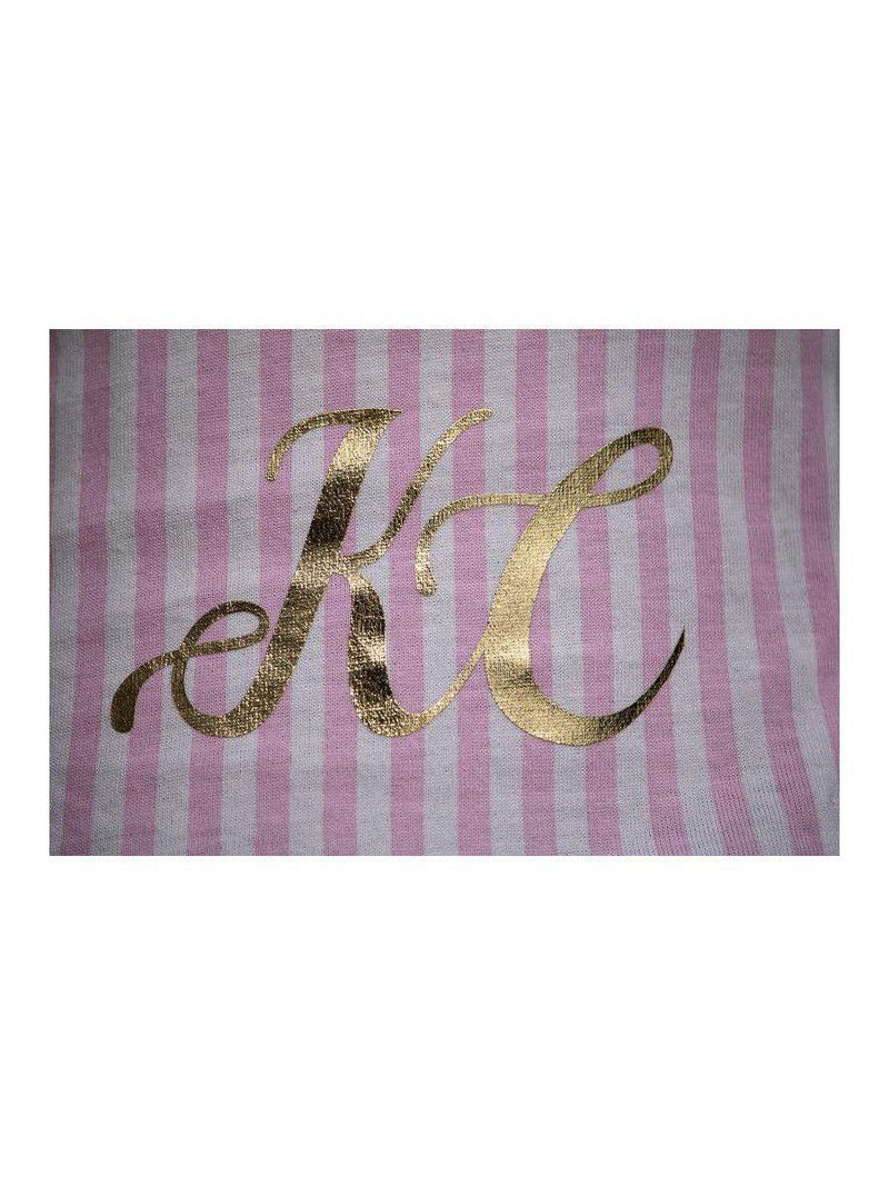 Pink striped personalised initial pyjamas with gold foil print