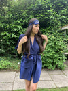 Navy Blue Personalised Satin Robe