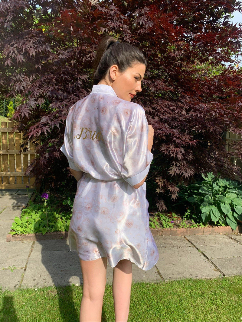White Floral Personalised Satin Robe