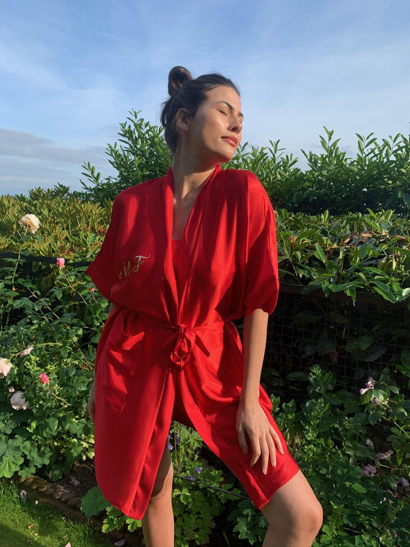 Red Personalised Satin Robe