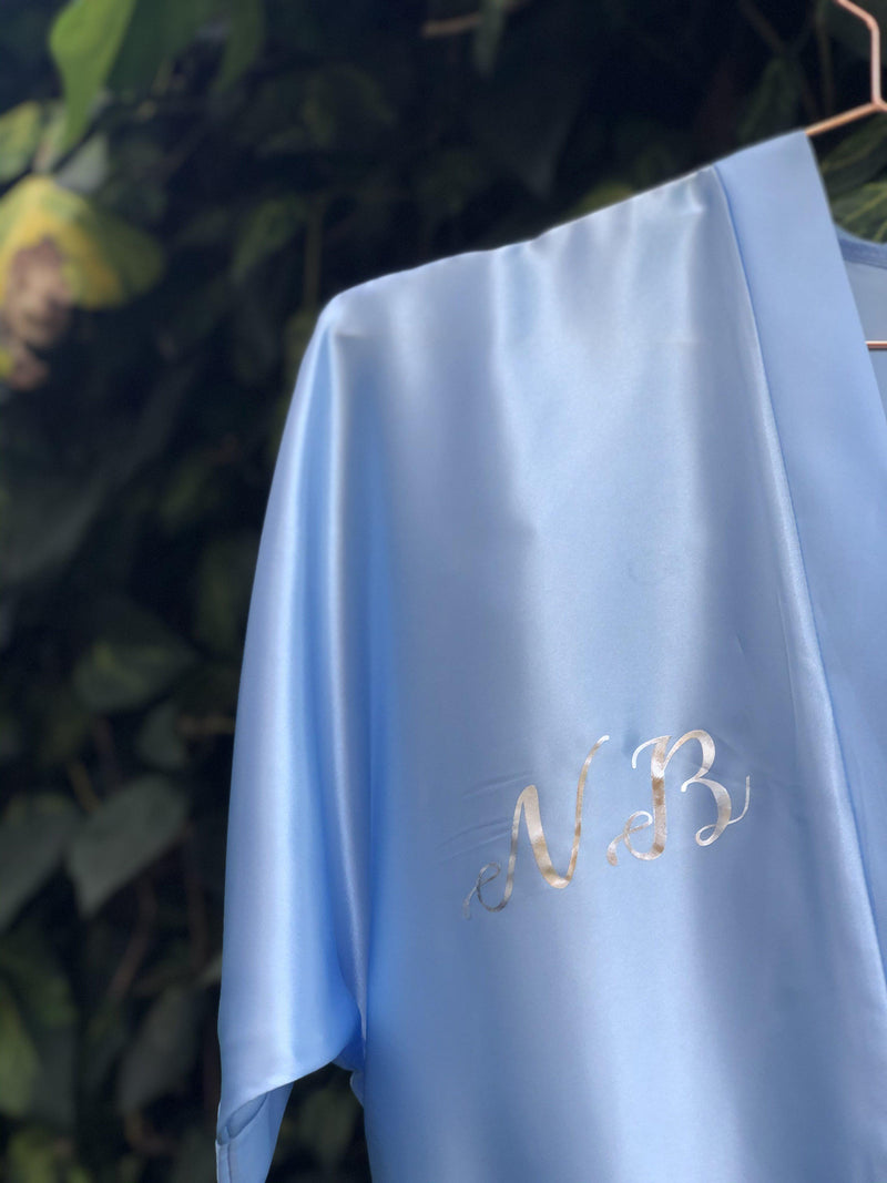Light blue Personalised Satin Robe