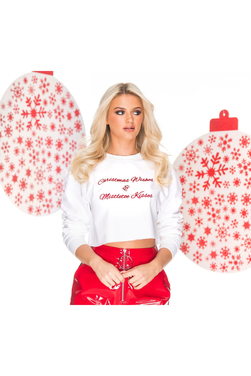Christmas Wishes & Mistletoe Kisses cropped sweat