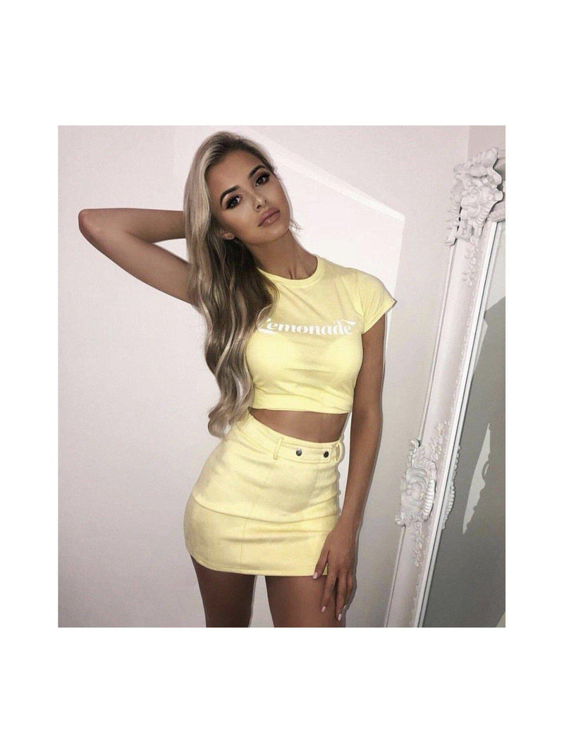 LOLA suede mini skirt in lemon yellow