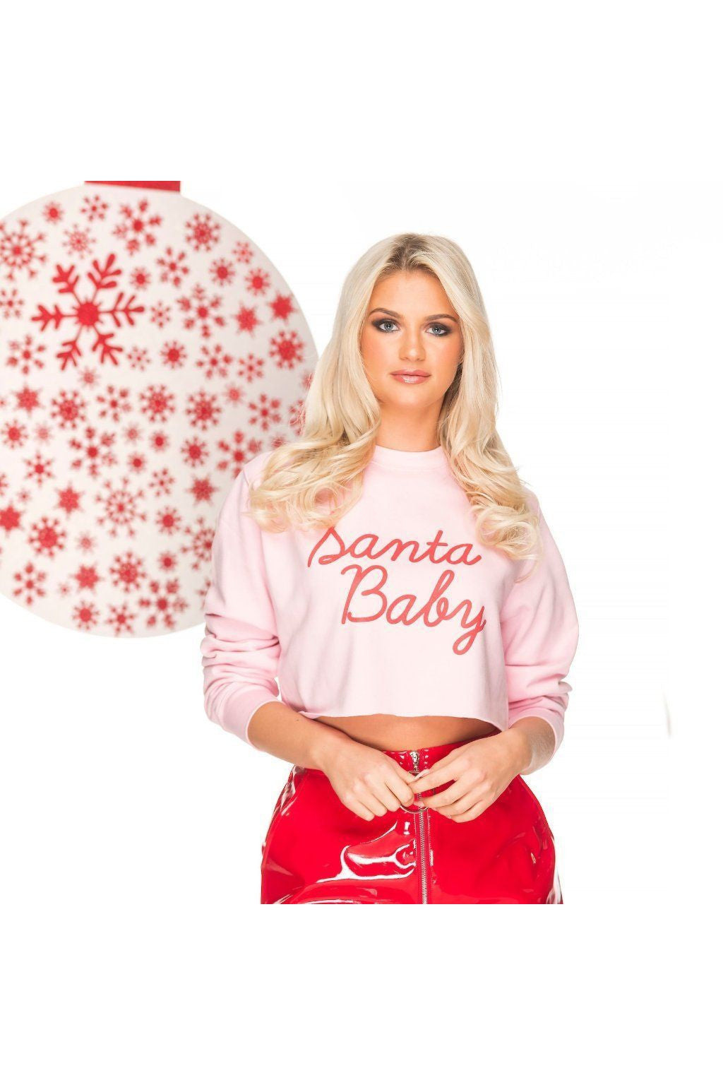 SANTA BABY crop Christmas sweat