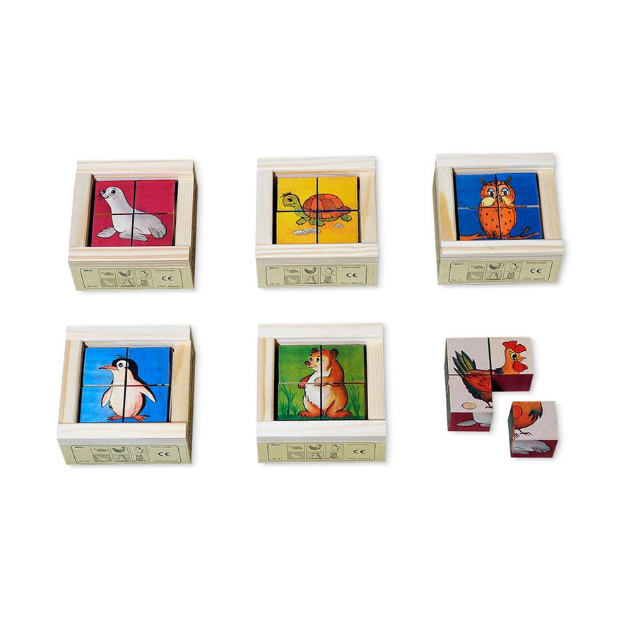 "Cube Puzzle ""Pets with colored background mini"" 4-part"