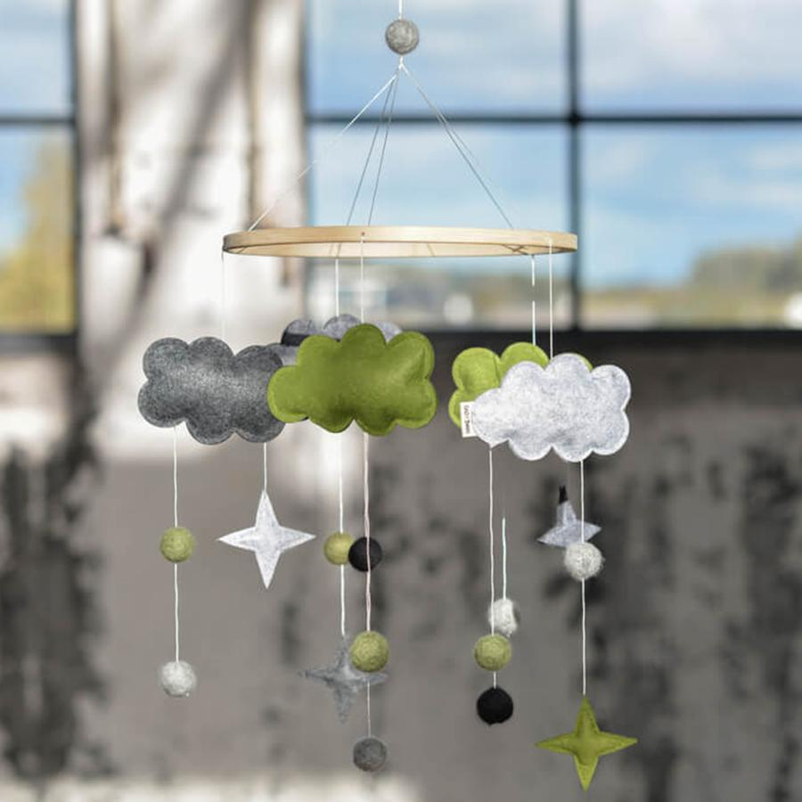 "Baby Mobile ""Fantasy Clouds Green"""