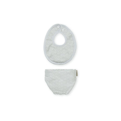 "Doll Diaper & Doll Bibs ""Grey Wave"""