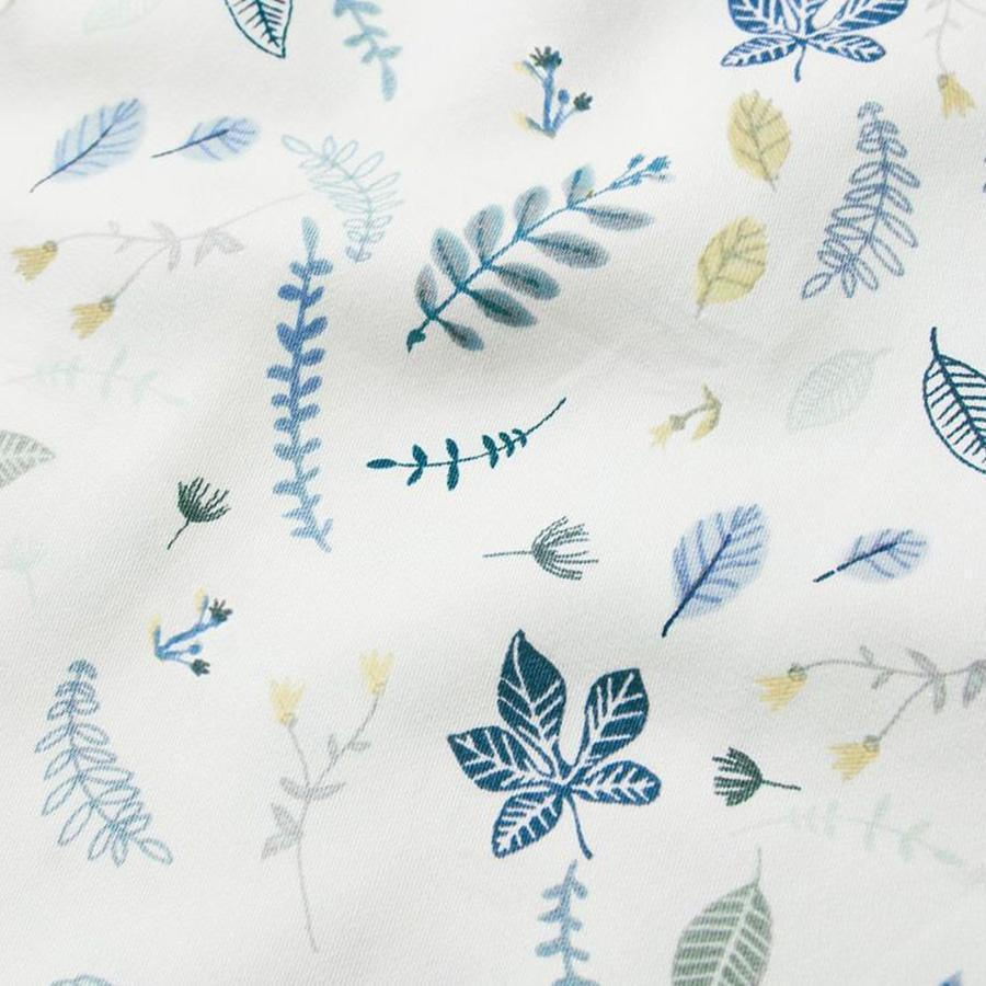 "Fitted Sheet ""Pressed Leaves Blue"""
