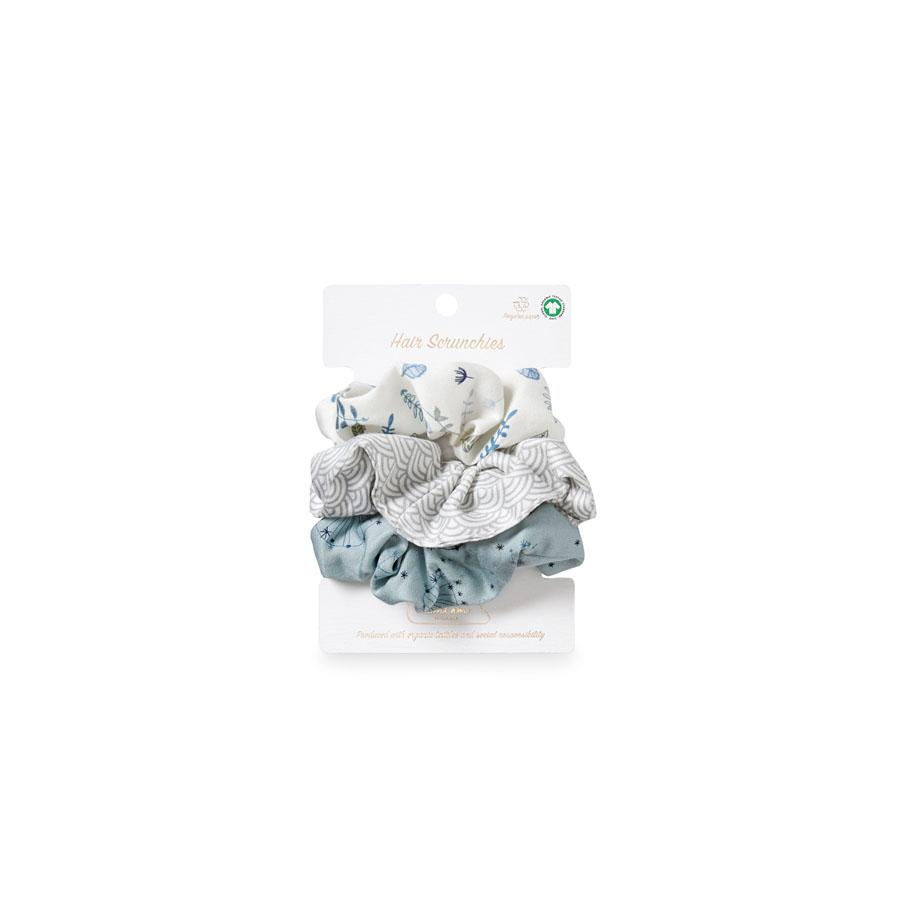 "Hair Scrunchies ""Print Mix Petrol"" Set of 3"