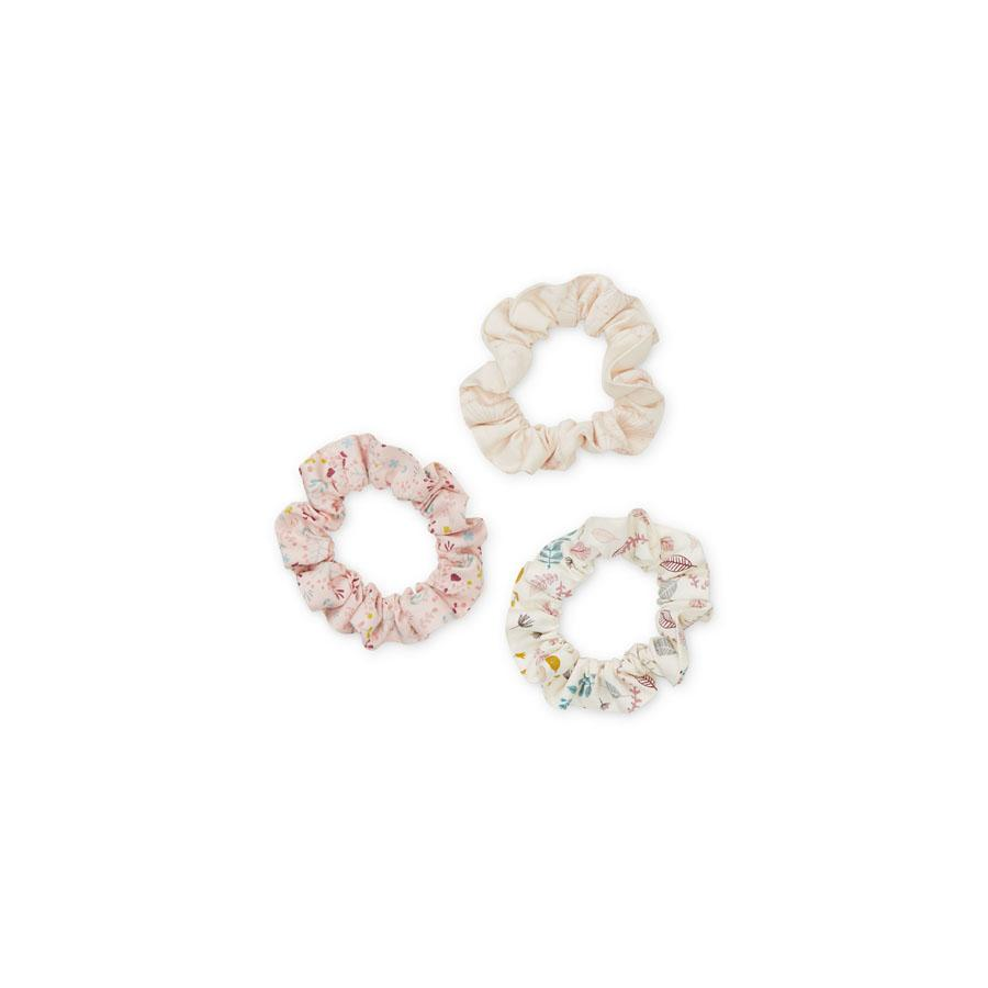 "Hair Scrunchies ""Print Mix Rose"" Set of 3"