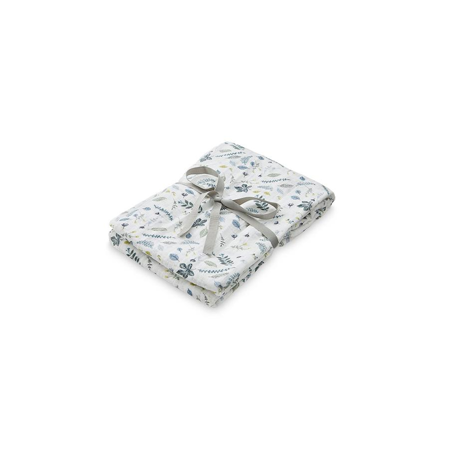 "Muslin Cloth ""Swaddle Light Pressed Leaves Blue"""