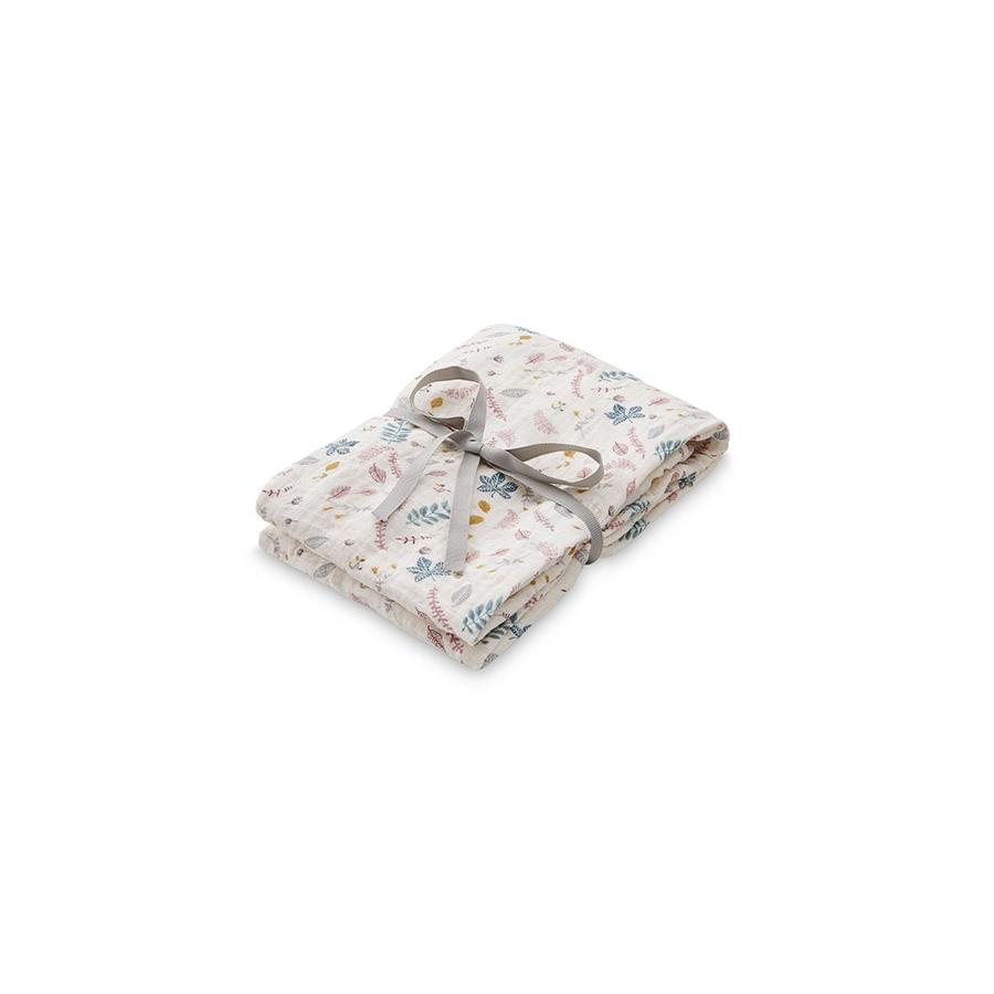 "Muslin Cloth ""Swaddle Light Pressed Leaves Rose"""