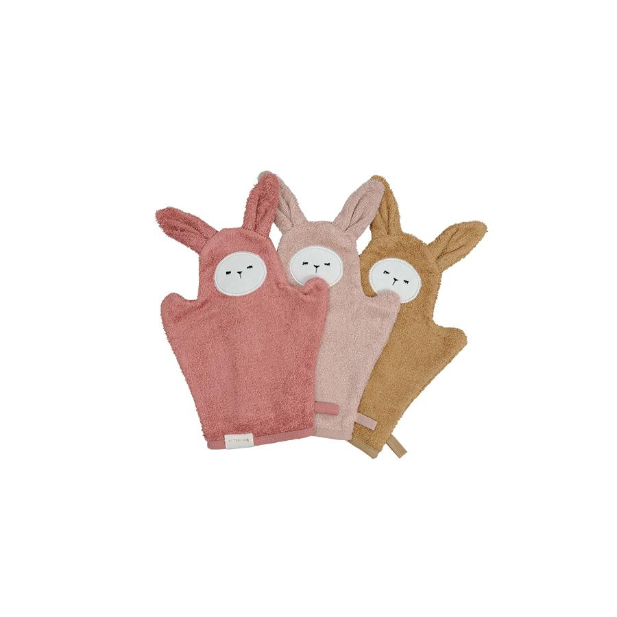 "Bath Mitts ""Bunny Old Rose Mix"" pack of 3"