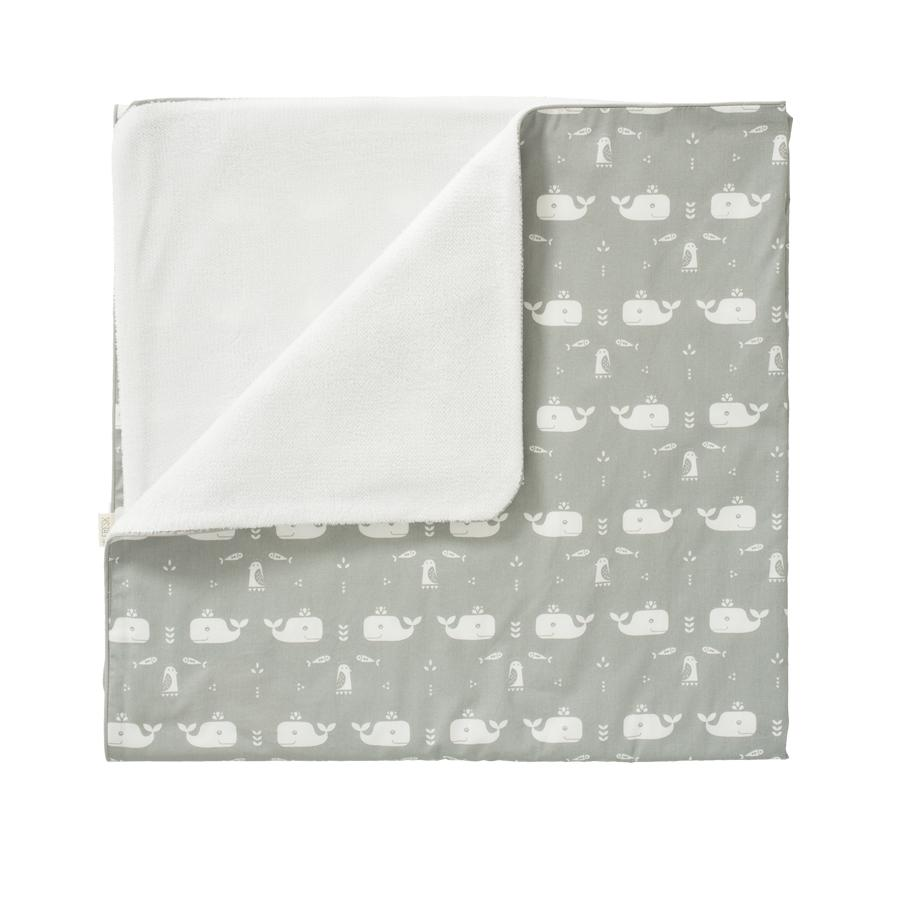 "Baby Bed Blanket ""Whale Dawn Gray"""