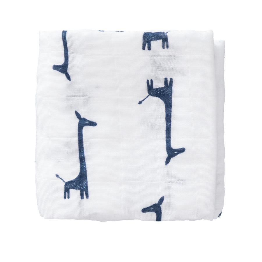 "Muslin Cloths ""Giraffe Indigo Blue / Diagonals"" 2-pack"