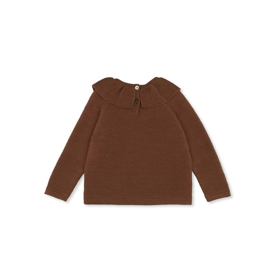 "Knitted Pullover ""Fiol Collar Deux"" with ruffled collar"
